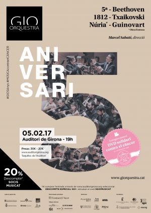 La GIO celebra su 5º aniversario con un concierto en el Auditori de Girona el domingo 5 de febrero